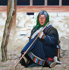 Anziana del Vietnam - Opera dell'artista Raffaele Ricci